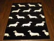 Modern Approx 6x4 120x160cm Woven Backed Sausage Dogs Rugs Top Quality New Black